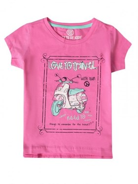 State of Kids Love To Travel T-Shirt - Pembe