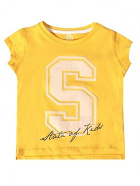 State of Kids S For State T-Shirt - Sarı
